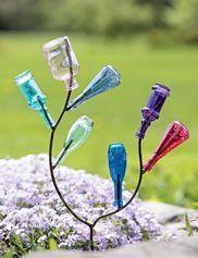 The Bottle Tree: A Sparkling Glass Sculpture that You Design (Bottle Garden Art) Glass Garden Art, Metal Garden Art, Bottle Garden, Wine Bottle Trees, Wine Bottle Crafts, Bottle Art, Wine Tree, Small Bottles, Bottles And Jars