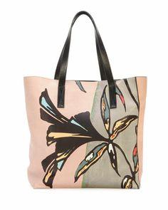 Flower-Print Lambskin Shopper Tote Bag by Marni at Bergdorf Goodman.