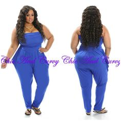 Strapless Harem Jumpsuit In Royal Blue available at:  http://www.chicandcurvy.com/jumpsuits/product/10160-new-plus-size-strapless-harem-jumpsuit-in-royal-blue-1x-2x-3x