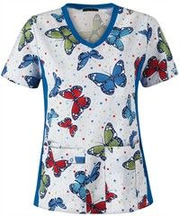 Cherokee+Flexibles+Scrubs+Bubbles+and+Butterflies+Print+Top