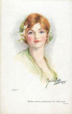 """Lily"" ~ Vintage Marjorie Mostyn postcard, 1916"