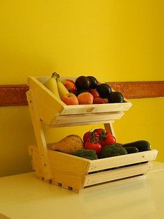 New 2 Tier wooden Vegetable fruit food storage rack white pine