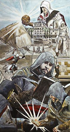 Ezio Auditore from the Assassin's Creed series. Ink and paint on canvas. Prints here - http://society6.com/thegryllus/Assassins-Creed-Painting-The-Life-of-Ezio-Auditore-da-Firenze_Print