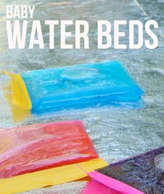 diy baby waterbeds -ziploc, food coloring and duct tape