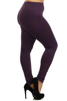 Nylon Solid Leggings - One Size PLUS