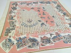 Vintage Florida tablecloth pink 1950s Florida by 3floridagirls  https://www.etsy.com/listing/235765164/vintage-florida-tablecloth-pink-1950s?ref=related-4