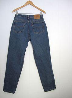 Vtg Dark Blue 512 Levi s High Waisted Tapered Leg Slim Fit Mom Jeans Denim  29