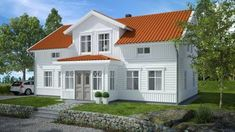 Norwegian House, Swedish House, Red Roof House, Home Focus, Modern Colonial, Mountain House Plans, House Paint Exterior, River House, House Colors