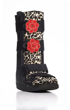 9af84ef921ead5 Leopard Print and Red Flower Medical Boot Accessory Metatarsal Fracture,  Ankle Fracture, Scapula,