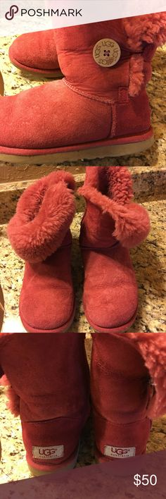 UGG boots Red UGG boots size 5 used but good condition   Taking offers in EVERYTHING in my closet UGG Shoes Ankle Boots & Booties