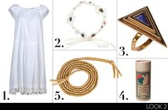 (1) Miu Miu short dress, $825; yoox.com (2) Maison Michel Kate flower bandeau, $1,231; colette.fr (3) Pamela Love ring, $170; yoox.com (4) LuLu Organics Patchouli   Amber Hair Powder, $30; luluorganics.com (5) American Apparel shiny braided belt in gold lamé, $13; americanapparel.com
