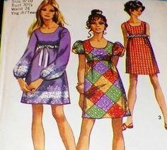 Scoop Neck Empire Waist Hippie Mini Dress Size 9 Bust 30 Simplicity 8639....and you added a big, bright, funky flower pin to the center of the bodice