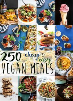 Over 250 stunning cheap & easy vegan meal ideas. All recipes are budget-friendly, no-fuss, quick and simple to make, and very very delicious! Informations About Cheap & Easy Vegan Meal Ideas Cheap Vegan Meals, Cheap Diet, Healthy Vegan Snacks, Vegan Foods, Vegan Dishes, Healthy Recipes, Delicious Recipes, Fast Recipes, Dinner Healthy