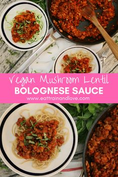 This vegan mushroom lentil bolognese sauce is an amazing, healthy, protein packed plant based sauce to add over your favorite noodles! This recipe is so easy to make for a delicious weeknight meal or dish to meal prep ahead of a busy week. Healthy recipes | vegan recipes | vegetarian recipes | weeknight dinner | pasta sauce | healthy main dishes