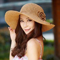 Flower straw sun hat for women  summer wear wide brim style