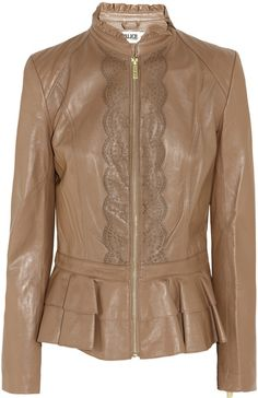 ALice by TEMPERLEY LONDON Page Lasercut Ruffled Leather Jacket