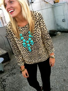 Love the leopard + turquoise combo
