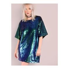 SheIn(sheinside) Iridescent Green Sequin Tee Dress (49 AUD) ❤ liked on Polyvore featuring green, half sleeve dresses, short-sleeve shift dresses, green t shirt dress, blue shift dress and blue dress