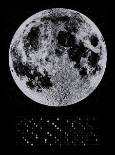Misprint 2014 Moon Phases Calendar 22x30 large by alittlelark, $20.00