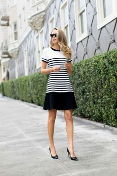 spring / summer - street style - street chic style - summer outfits - work outfits - business casual - office wear - party outfits - black and white striped drop waist dress + black stilettos + black sunglasses