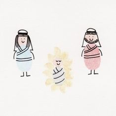 Mary Joseph and Baby Jesus Card by ThumbelinaCardCo on Etsy, $5.55