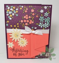 Wildflower Fields Trio - curtain fold card (cover) 1 of 2 Fancy Fold Cards, Folded Cards, Stamping Up Cards, Shaker Cards, Sympathy Cards, Paper Design, Card Templates, Homemade Cards, Making Ideas