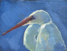 """Where ART Lives Gallery Artists Group Blog: Wildlife Painting, Snowy Egret Painting, Daily Painting, Small Oil Painting, 6x8"""" Original Painting"""
