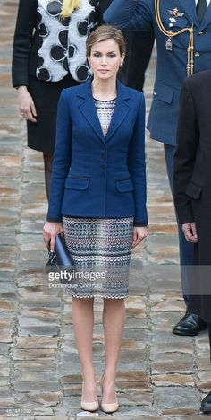 Queen Letizia of Spain attends a cermony in the courtyard of the Invalides as part of a three day official visit to France  on March 24, 2015 in Paris, France. According to media reports King Felipe decided to cancel the state visit due to the crash of an Airbus plane today, carrying Spanish passengers. (Photo by Dominique Charriau/WireImage)