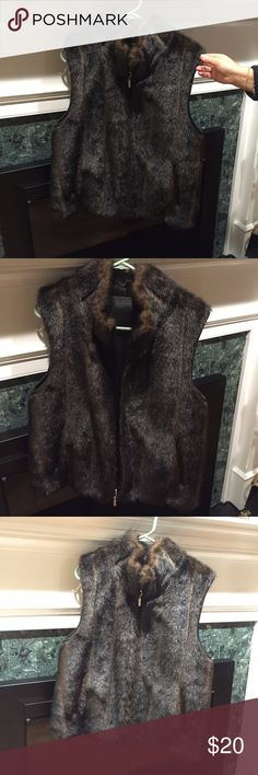 """Faux Fur Vest Dark Brown """"Giacca""""  Faux Fur Vest. Never worn before, perfect condition! Giacca Jackets & Coats Vests"""