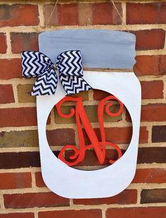SALE Mason Jar Vine Letter thin wood you pick the Initial Door Hanger, Door Hangers, Christmas Crafts For Gifts, Craft Gifts, Mason Jar Flowers, Mason Jars, Mesh Wreaths, 4th Of July Wreath, Wooden Signs