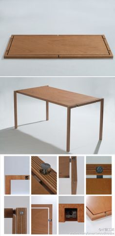 folding table by Lodovico Bernardi Folding Furniture, Smart Furniture, Modular Furniture, Space Saving Furniture, Furniture Projects, Wood Furniture, Wood Projects, Modern Furniture, Furniture Design