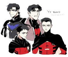 Nightwing, red hood, robin and red robin