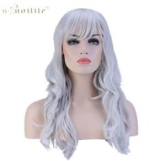 SNOILITE 19inch Full Wig Women Daily Costume Dress Synthetic Long Curly Hair Wigs Silvery Grey