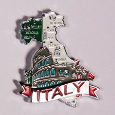 Metal Fridge Magnet: Italy. Map of Italy (Chrome Plating and Enamel)