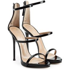Giuseppe Zanotti Patent Leather Stiletto Sandals ($495) ❤ liked on Polyvore featuring shoes, sandals, heels, black, strap heel sandals, black evening sandals, black strappy stilettos, black sandals and black strappy sandals