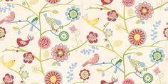 Lapwing (1941/213) - Prestigious Wallpapers - A fun kids wallcovering with cute stylized birds on branches with retro styled flowers. Showing in multi-coloured on a off white background - other colours are available. Please request a sample for true colour match.