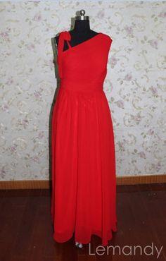 red oblique neckline chiffon evening dress floor length formal dress. $188.00, via Etsy.