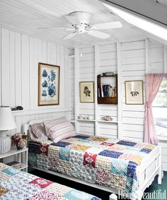 Cameron's daughters have always liked to sleep in this bedroom. The antique twin beds have probably been there since the house was built. Quilts from Bed, Bath & Beyond. Hunter ceiling fan.   - HouseBeautiful.com