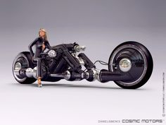 The giant all black Mk. II No.6 with a promotional human photo model. This bike is designed for large non-human droids.