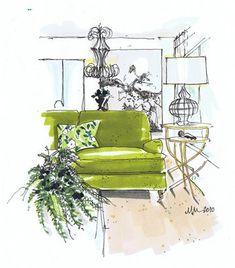 "Interior - Rendering of Lauren Liess' Living Room - Michelle Morelan of ""A Schematic Life"" Interior Design Renderings, Drawing Interior, Interior Rendering, Interior Sketch, Interior Architecture, Classical Architecture, Illustration Sketches, Drawing Sketches, Drawings"