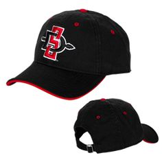 7bdf7354504 SD Spear Adjustable Hat Black   red garment washed hat with adjustable back  strap