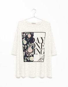 T-shirt Bershka estampada