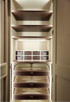 Wardrobe interior, leather wrapped shelves