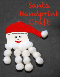 Santa# cotton ball handprint craft. #Christmas craft that's great for little kids!