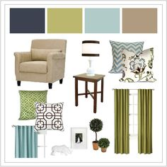 Master Bedroom Colors....we would just need to add the touches of green and navy :)