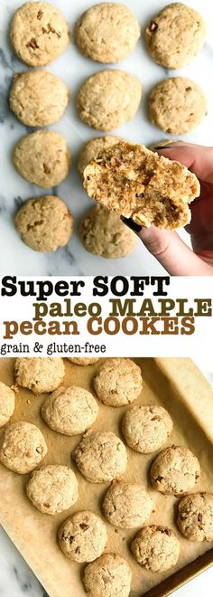 Super Soft Paleo Maple Pecan Cookies! Deliciously healthy paleo cookies that are super soft, vegan and made with almond flour and arrowroot flour. Sweetened with maple sugar!