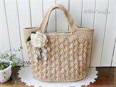 麻ひもの松編みトートバッグ