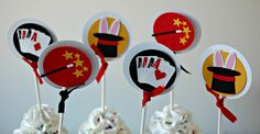 Magic Show Party Cupcake Toppers (set of 12)