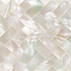 "Daltile Ocean Jewels 2"" x 2"" Herringbone Accent Tile in Mother of Pearl"