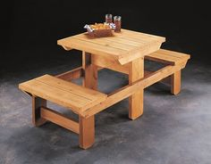 Pallet Table Plans How to build a wooden picnic table for two. Diy Picnic Table, Wooden Picnic Tables, Picnic Table Plans, Diy Table, Outdoor Tables, Outdoor Fun, Outside Furniture, Pallet Furniture, Wood Projects